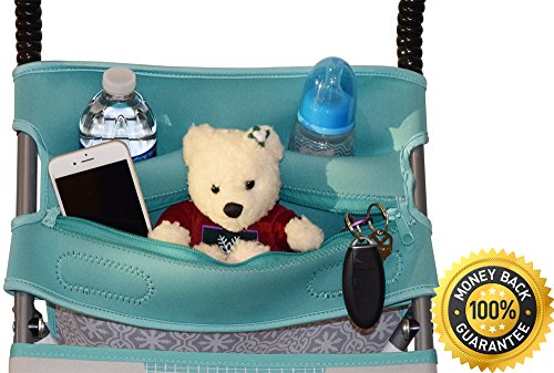 Baby Stroller Caddy Storage Organizer - Cup, Bottle and Diaper Holder for Stroller Accessories Bag - Universal Umbrella Stroller Organizer with Cup Holders - Perfect Baby Shower Gift (Turquoise) by Sunshine Nooks