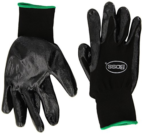 Boss Gloves 8436M Assembly Grip Glove, Size Medium, Color Black Shell White Contractor