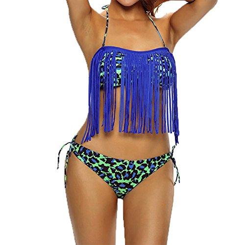 YUYU Womens Streifen Bademode Schwimmbad Partei Blau Fimbriate Strand Badeanzug Buy one Get einem freien , blue , m