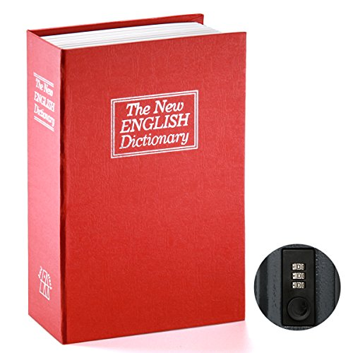 Book Safe with Combination Lock - Jssmst Home Dictionary Diversion Metal Safe Lock Box 2017, SM-BS0404L, red Large