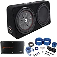 Package: Kicker 43TCWRT124 1000 Watt 12 Subwoofer + Rockville RXA-T2 2400 Watt 2-Channel Amplifier + Rockville RWK41 Complete 4 Gauge 2 Channel Wire Kit With Rca Cables