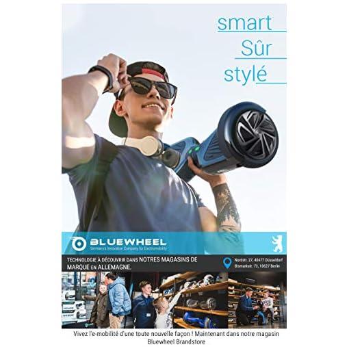 6.5″ Gyropode Bluewheel HX310s Smart APP Self Balance Scooter Board, Marque Allemande avec Norme UL2272, Mode sécurité Enfant, Skateboard électrique, Bluetooth