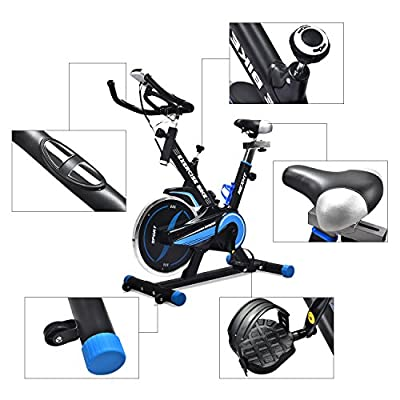 NexHT Fitness Exercise Cycle Bike Indoor Spin Workout Cycling Bike with LCD Monitor& Heart Pulse Sensors,Max User Weight:280lbs,Full Adjustable Health Sport Trainer Stationary Bicycle