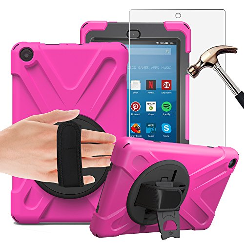 Gzerma Fire HD 8 Case with Screen Protector 2017, 3in1 [Kid Proof] [Shock Proof] Rugged Heavy Duty Defender Protective Cover, Kickstand, Hand Strap for Amazon Fire HD8 Tablet 7th Generation, Pink