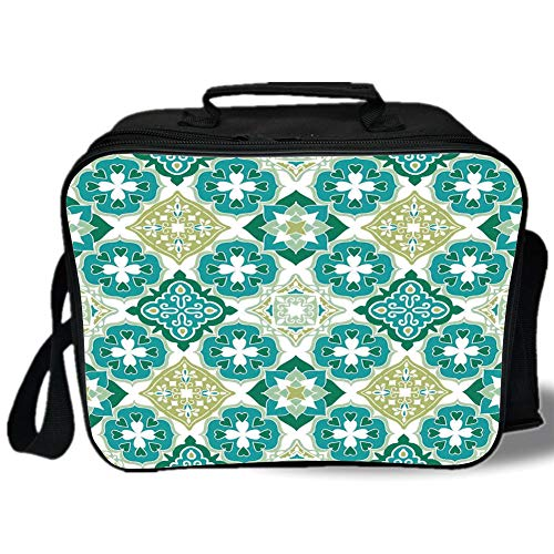 Pearl Clasp Geometrical - Moroccan 3D Print Insulated Lunch Bag,Colored Tiled Pattern Geometrical Diagonal and Triangle Forms Oldest Craft,for Work/School/Picnic,Green Teal White