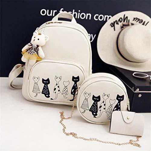 Escuela Cuero 12 Pu La Set De 3pcs Mochila Del White Black Inches HqS4nT