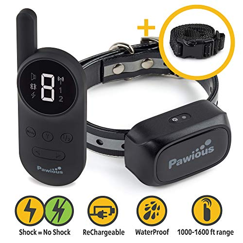 Pawious Dog Training Collar [Newest 2019] – Rechargeable Remote Dog Shock Collar Small Medium Large Dogs – Long Range, Waterproof, Large LED Screen, Beep, Vibration, Shock E-Collar
