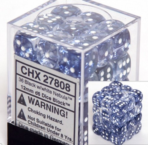 Chessex Dice d6 Sets: Nebula Black with White - 12mm Six Sided Die (36) Block of Dice (36 Dice Set)