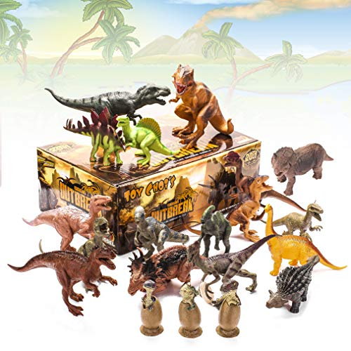 "- Kids 20 Packs Dinosaurs Toy Play Set for Toddlers, Boys Educational Toy Realistic Looking 6"" to 10"" Assorted Dino Figures with Dinosaur Eggs, Tyrannosaurus Rex, Triceratops for Party Favors and Gift"