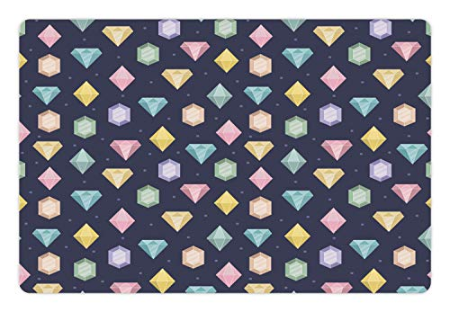 (Ambesonne Colorful Pet Mat for Food and Water, Graphic Gemstones with Different Shapes Trillion Drop and Marquise Cut Pattern, Rectangle Non-Slip Rubber Mat for Dogs and Cats, Multicolor)