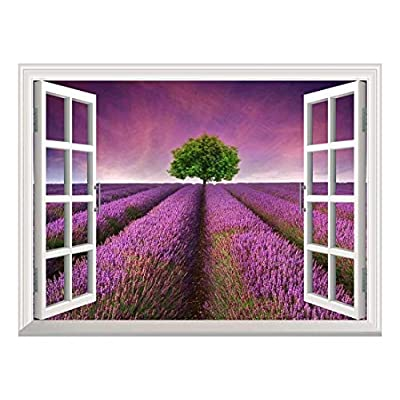 Beautiful Picture, Removable Wall Sticker Wall Mural Tree on a Purple Filed Creative Window View Wall Decor, That's 100% USA Made