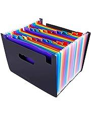 CNASA 24 bolsillos Ampliación carpeta de archivos/A4 organizador de archivos ampliable/portátil acordeón carpeta de archivos