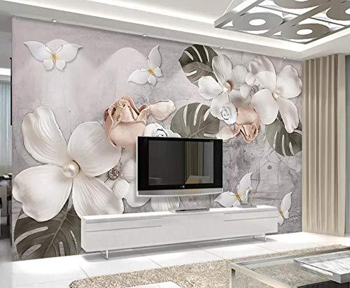 Muralayf Wallpaper Mural Home Decoration 3D Embossed White Pearl Flower Nordic Retro Tv Background Walls Mural 3D Wallpaper400Cmx280Cm