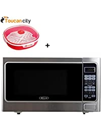 Bella 1.1 Cubic feet 1000-Watt Countertop Microwave Oven in Stainless Steel and Black 04294 and Toucan City Microwave Dish Steamer