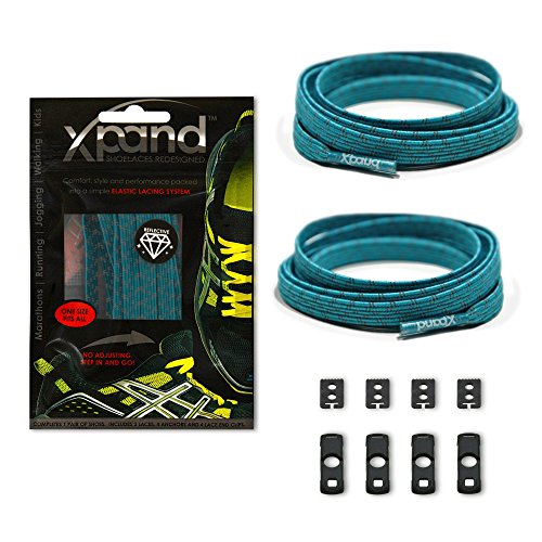 Xpand No Tie Shoelaces System with Reflective Elastic Laces - Teal - One Size Fits All Adult and Kids Shoes