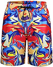 QRANSS Men's Quickly Drying Board Shorts Flamingo Printed Swim T