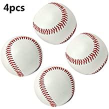 """Smartlife15 Practice Baseballs, Reduced Impact Safety Baseballs, Standard 9"""" Adult Youth Leather Covered Soft Balls for Team Game Competition Pitching Catching Training, 4Pack"""