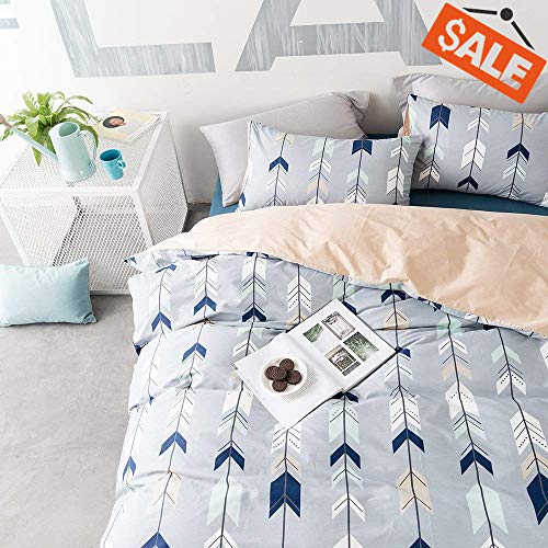 VClife Cotton Bedding Sets Arrow Queen/Full Duvet Cover for Boys Girls Teens Adults, Reversible Geometric Herringbone Design Comforter Quilt Cover Sets Kids 3 PCS Bedding Collections]()