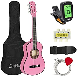 Best Choice Products 30in Kids Acoustic Guitar Beginner Starter Kit with Electric Tuner, Strap, Case, Strings – Pink