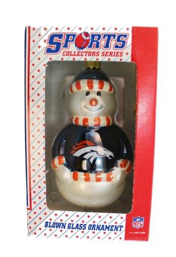 Sports Collectors Glass Ornament - NFL Broncos Snowman Blown Glass Ornament - Sports Collectors Series