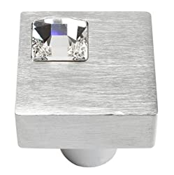 Matte Chrome Off Center Crystal Knob