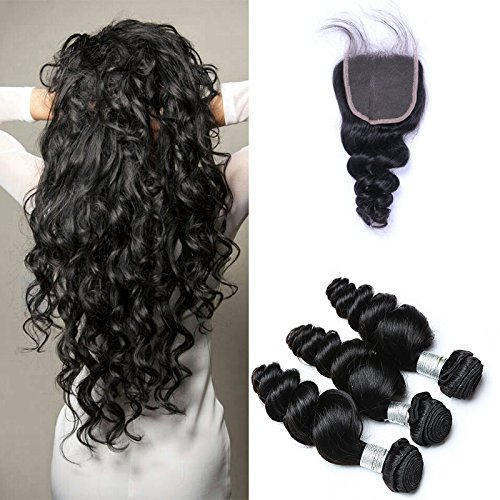 Peruvian-Virgin-Hair-Weaves-Loose-Wave-3-Bundles-With-4×4-Lace-Closures-Remy-Human-Hair-Extension-Uprocessed-Virgin-Hair-Natural-Color-20-22-2418-Closure