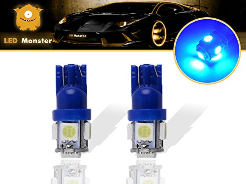 LED Monster 2-Pack Ice Blue 5SMD LED Bulbs 194 168 T10 2825 Car Dome Map License Plate Lights Lamp (Ice Blue)