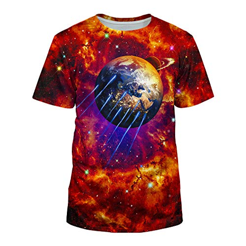 Graphic Tee Soccer Short Sleeve (Kayolece Unisex 3D Realistic Nebula Red Galaxy Space Short Sleeve T-Shirts M)