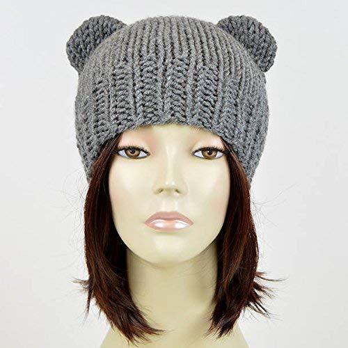 78bf57296cf Amazon.com  Bear Beanie Womens Bear Hat Bear Ear Beanie Mickey Mouse Hat  Knitted Bear Hat Bear Ears Hat Hnit Hat Mütze Bär Ours Bonnet Femme Animal  Ear  ...