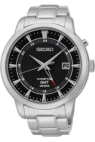 Seiko SUN033P1 Men's Kinetic Gmt,Steel Case & Bracelet,100m WR SUN033 (Seiko Sportura Kinetic Gmt)