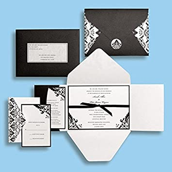 black and white damask wedding invitations kit brides magazine gartner 15 count