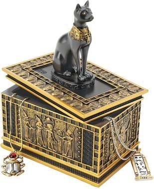 Egyptian Bastet Treasure Jewelry Box statue Cat sun Goddess sculpture Egypt New (the digital angel)