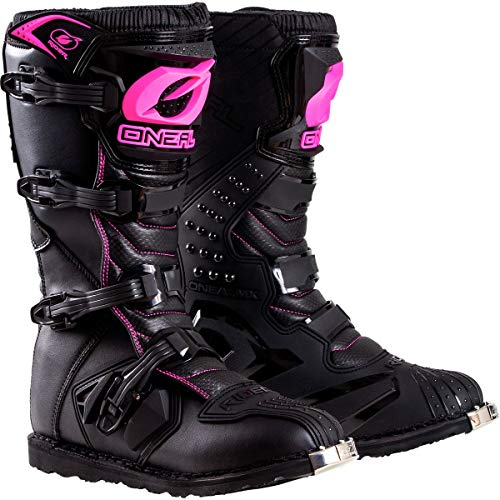 - O'Neal Womens New Logo Rider Boot (Black/Pink, Size 8)