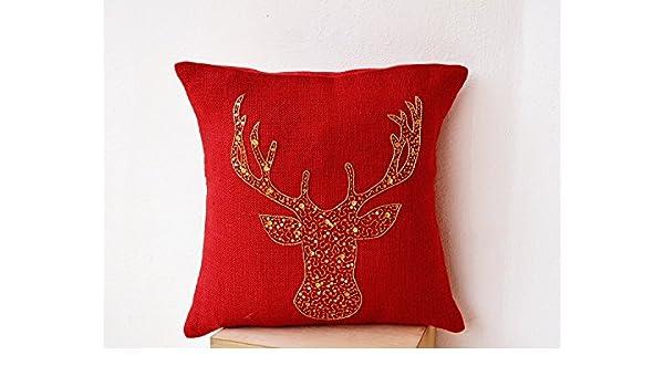 Funda de cojín almohada animales - ciervo rojo arpillera con ...