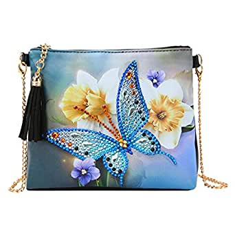 DIY 5D Diamond Painting Butterfly Flower Crossbody, ZSYUNI Special Shaped Drill Cross Stitch Backpack Handbag Purse Tote Storage Bag Embroidery Kit Leather for Girl Women Art Craft Decor