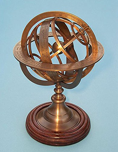 Medium Solid Brass Armillary Sphere