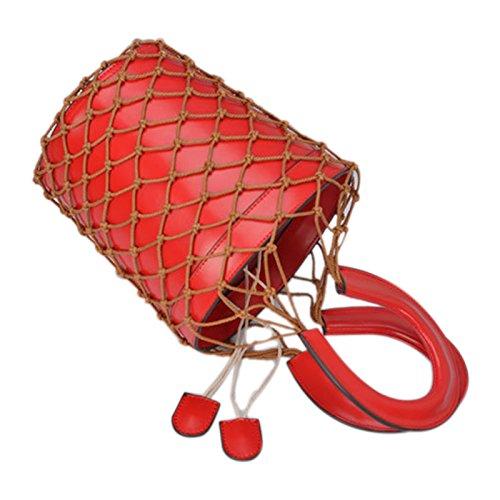 SODIAL Bolsas de red hueca popular Bolsa bolso de cubo de ...