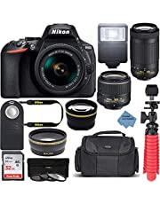 $879 » Nikon D5600 24.2MP DX-Format DSLR Camera with AF-P 18-55mm VR & 70-300mm ED Lens Kit Bundle with Camera Lens, 32GB Memory Card and Accessories (14 Items) w/Extreme Ele Cloth