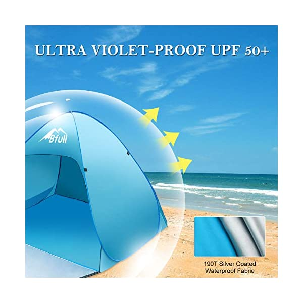 Bfull Tenda Da Spiaggia Per Esterni Portatile Con Protezione Solare Per 1 o 2 Persone, Apertura Istantanea Pop-up Colore… 3 spesavip