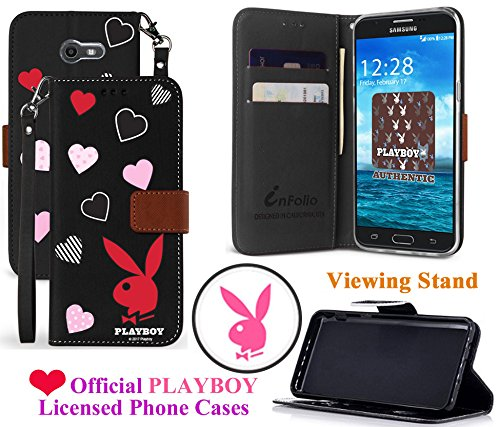 for 5'' Samsung Galaxy J3 2017 Emerge J3 Prime Case Official PLAYBOY Phone Case Wallet Kickstand Hybrid Pouch Pocket Purse Screen Flip Cover (Love Hearts) by 6goodeals