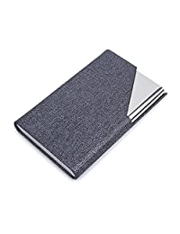 Pettom Business Card Holders Stainless Steel Storage Protective Holders Pocket Cases Credit Name Card Case Money Clip Wallet with Magnetic Shut (Grey)