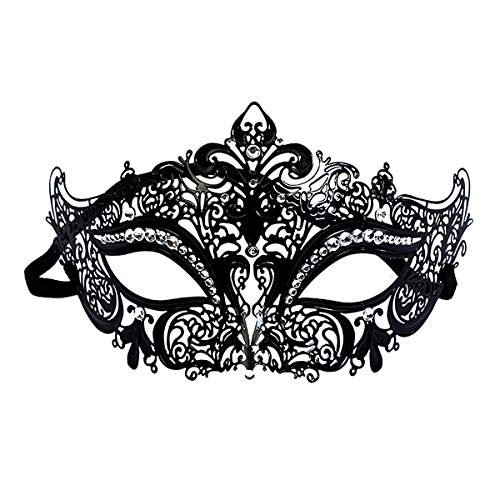 IMIKE Venetian Masquerade Mask for Women Ultralight Metal Rhinestone Crown Mask Venetian Prom Ball Masks ()
