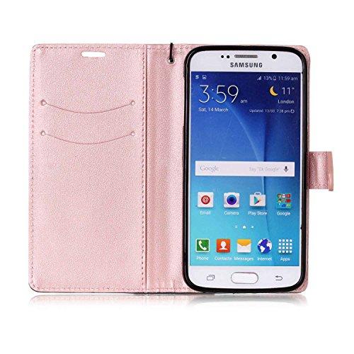 Ultra Slim Case para Galaxy S6 Funda Libro Suave - Sunroyal ® PU Leather Cuero Samsung S6 Bookstyle Cobertura Wallet Case Con Flip Cover Cierre Magnético,Función de Soporte Billetera con Tapa para Tar A-03