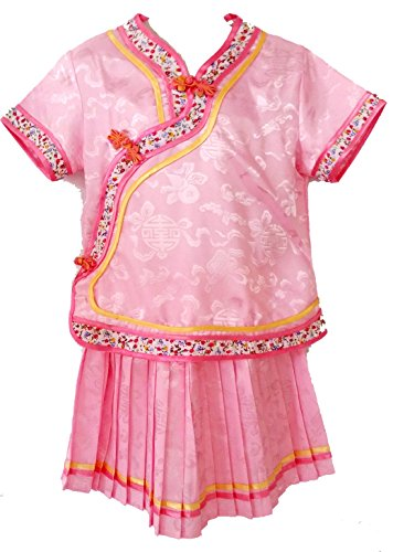 Little Girls' Chinese Dress Suit Outfit Uniform Costume (Rose (Child Little Geisha Costumes)