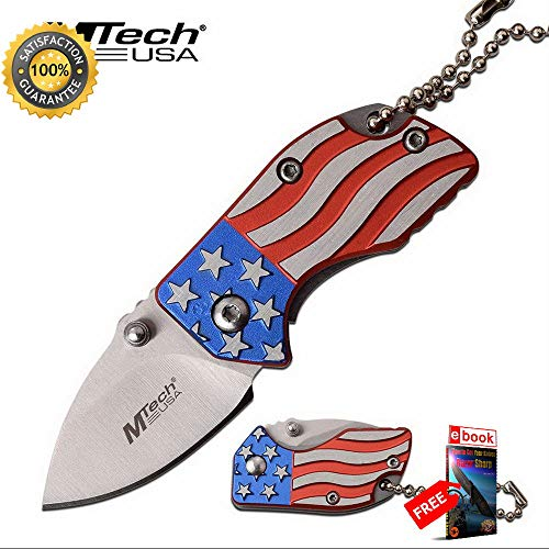 American Flag Folding Pocket Sharp KNIFE Keychain Mini Mtech 1.4'' Stainless Blade Combat Tactical Knife + eBOOK by Moon Knives