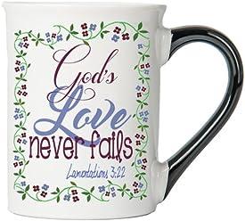 God's Love Never Fails ( Lamentations 3:22) Mug , Inspirational Coffee Cup, Inspirational Mug, Ceramic Mug, Custom Inspirational Gifts By Tumbleweed