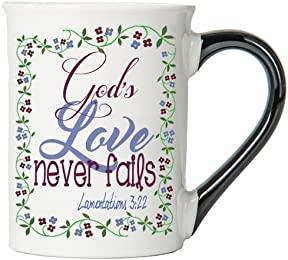 God's Love Never Fails ( Lamentations 3:22) Mug , Inspirational Coffee Cup, Inspirational Mug, Ceramic Mug, Custom Inspirational Gifts By Tumbleweed