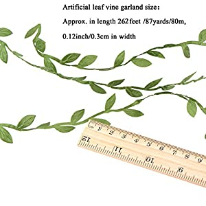 Whaline Artificial Vines 262 Feet Fake Simulation Foliage Leaf Hanging Plant Garland DIY Decorative Home Wall Garden Rustic Wedding Party Wreaths and Flower Decor 2