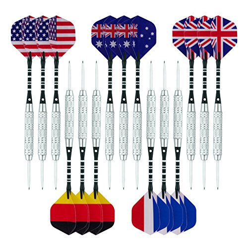 Wolftop 15 Pack Steel Tip Darts 20 Grams with Aluminum Shafts and Round Dart Sharpener