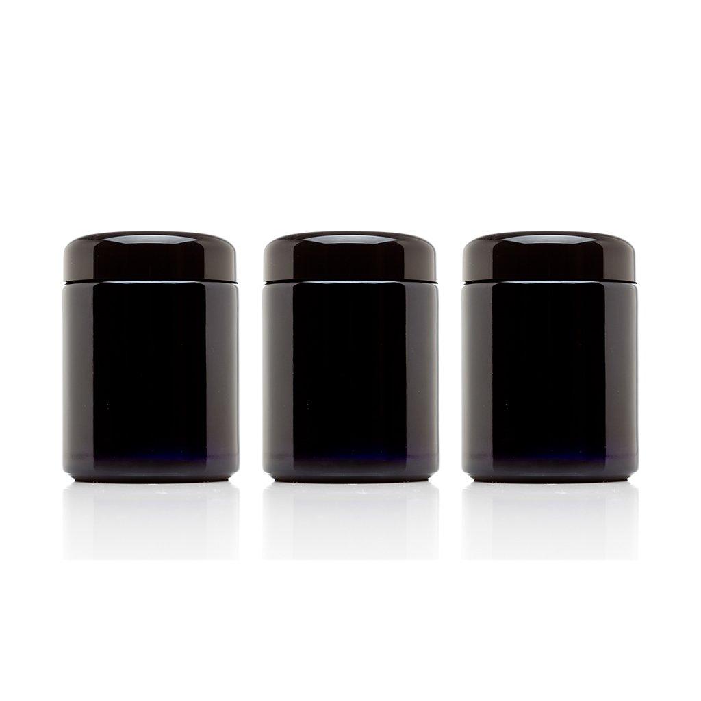 Infinity Jars(インフィニティ ジャー) 250ml ミディアムサイズ 黒 紫外ガラス補充用ねじぶた瓶 3本セット B00UY9T1WK